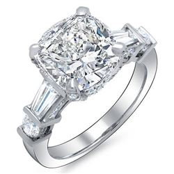 Natural 3.82 CTW Cushion Baguettes Rounds Diamond Engagement Ring 18KT White Gold