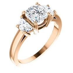Natural 1.72 CTW 3-Stone Cushion Cut & half moons Diamond Ring 14KT Rose Gold