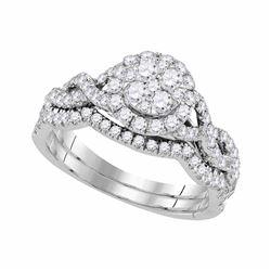 14kt White Gold Diamond Cluster Bridal Wedding Ring Band Set 7/8 Cttw