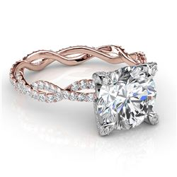 Natural 2.87 CTW Round Cut Diamond Infinity Engagement Ring 14KT Rose Gold