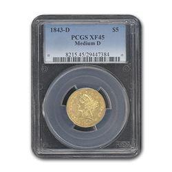 1843-D $5 Liberty Gold Half Eagle XF-45 PCGS (Medium D)