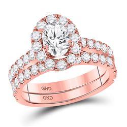 14kt Rose Gold Oval Diamond Bridal Wedding Ring Band Set 1-7/8 Cttw