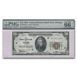 1929 (G-Chicago) $20 Brown Seal FRBN CU-66 EPQ PMG (Corner Flaw)