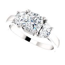 Natural 2.52 CTW Cushion Cut & Half Moons 3-Stone Diamond Ring 18KT White Gold
