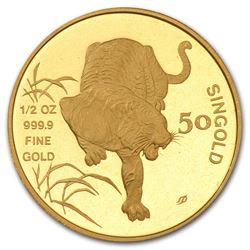 1986 Singapore 1/2 oz Gold 50 Singold Tiger BU