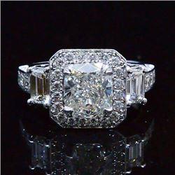 Natural 2.92 CTW Unique Design Halo Cushion Cut Diamond Engagement Ring 14KT White Gold