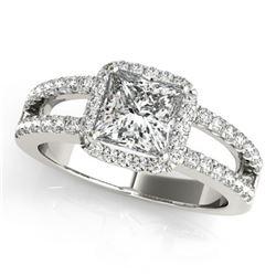 Natural 1.26 ctw Princess Diamond Halo Ring 14k White Gold