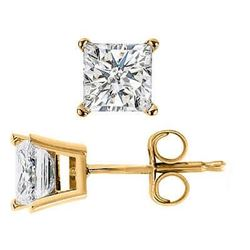 Natural 0.72 CTW Princess Cut Diamond Stud Earrings Basket Setting Push or Screw Back 14KT Yellow Go