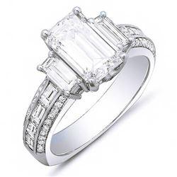 Natural 2.72 CTW Emerald Cut & Baguette Diamond Engagement Ring 18KT White Gold