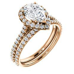 Natural 4.02 CTW Halo Teardrop Pear Cut Diamond Engagement Set 14KT Rose Gold