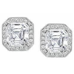Natural 2.74 CTW Asscher Cut Halo Diamond Earrings 18KT White Gold