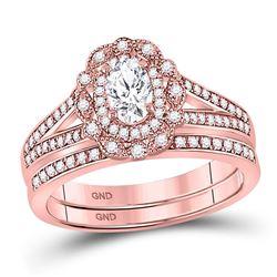 14kt Rose Gold Oval Diamond Bridal Wedding Ring Band Set 1 Cttw