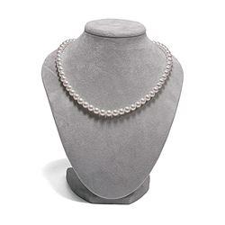 White Hanadama Japanese Akoya Pearl Necklace, 7.0-7.5mm