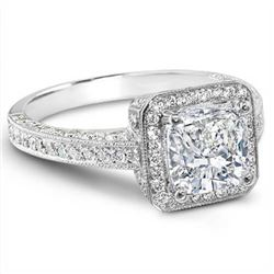 Natural 2.8 CTW Cushion Cut Diamond Engagement Ring 14KT White Gold