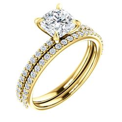 Natural 3.82 CTW Cushion Cut Diamond Engagement Set 14KT Yellow Gold