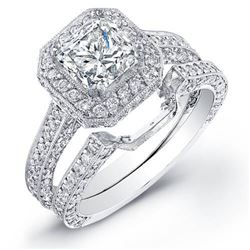 Natural 3.12 CTW Princess Cut Halo Diamond Ring 18KT White Gold