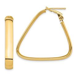 14k Yellow Gold Omega Back Triangle Hoop Earrings - 5x34 mm