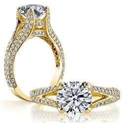 Natural 3.12 CTW Round Cut Split Shank Pave Diamond Ring 14KT Yellow Gold
