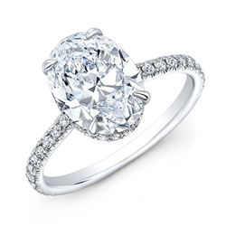 Natural 2.62 CTW Hidden-Halo Oval Cut Diamond Engagement Ring 18KT White Gold