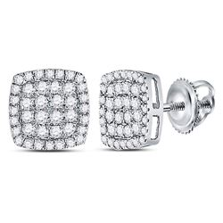 14kt White Gold Womens Round Diamond Cluster Cushion Stud Earrings 1/2 Cttw