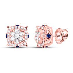 14kt Rose Gold Womens Round Diamond Blue Sapphire Cluster Earrings 5/8 Cttw