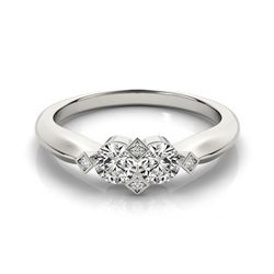 Natural 1.1 ctw Diamond 2 Stone 2 Stone Ring 14k White Gold