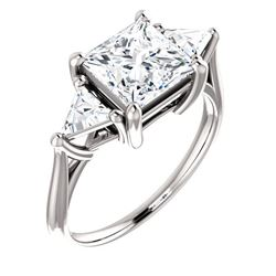 Natural 2.82 CTW 3-Stone Princess Cut & Trillions Diamond Ring 18KT White Gold