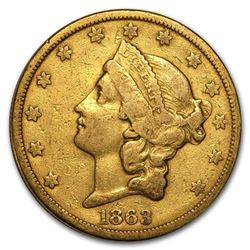 1863-S $20 Liberty Gold Double Eagle VF