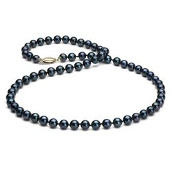 Black Akoya Pearl Necklace, 6.5-7.0mm