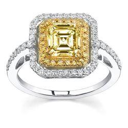 Natural 2.92 CTW Canary Light Yellow Asscher Cut Diamond Engagement Ring 18KT Two-tone