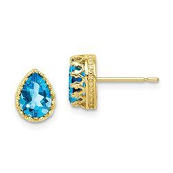 10k 8 mm Polished Pear Sky Blue Topaz Earrings - 45 mm