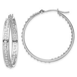14k White Gold Diamond Fascination In/Out Hoop Earrings
