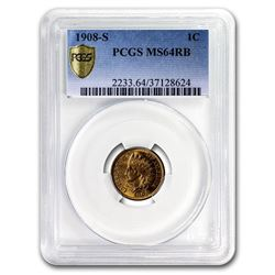 1908-S Indian Head Cent MS-64 PCGS (Red/Brown)