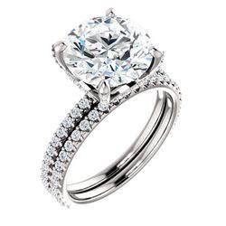 Natural 6.02 CTW Hidden Halo Round Cut Diamond Ring 18KT White Gold