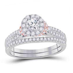 14kt Two-tone Gold Round Diamond Bridal Wedding Ring Band Set 1 Cttw