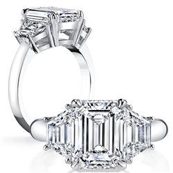 Natural 2.52 CTW Emerald Cut & Trapezoid 3-Stone Diamond Ring 14KT White Gold