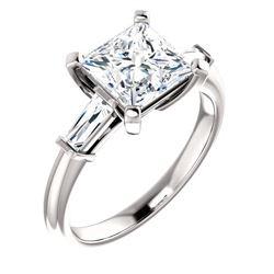 Natural 2.02 CTW Princess Cut & Baguettes 3-Stone Diamond Ring 14KT White Gold