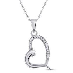 14kt White Gold Womens Round Diamond Heart Pendant 1/20 Cttw