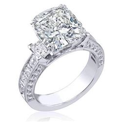 Natural 3.42 CTW Cushion Cut Diamond Engagement Ring 18KT White Gold