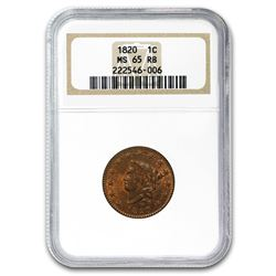1820 Large Cent MS-65 NGC (Red/Brown)