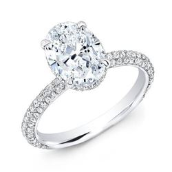 Natural 1.37 CTW Oval Cut 3-Row Pave Under-Halo Diamond Engagement Ring 18KT White Gold