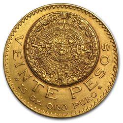 1918 Mexico Gold 20 Pesos AU