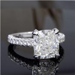 Natural 3.62 CTW Bonny Cushion Cut Diamond Engagement Ring 18KT White Gold