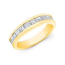 Natural 1.52 CTW Princess Cut Diamond Wedding Band Anniversary Rings 18KT Yellow Gold