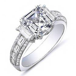Natural 2.92 CTW Empire Asscher Cut Diamond Engagement Ring 14KT White Gold