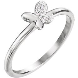 Natural 0.06 CTW Butterfly Diamond Ring 14KT White Gold