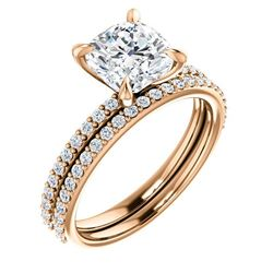 Natural 2.52 CTW Cushion Cut Diamond Engagement Set 18KT Rose Gold