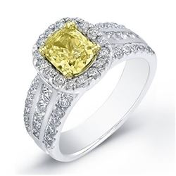 Natural 2.07 CTW Canary Yellow Cushion Cut Diamond Engagement Ring 18KT White Gold