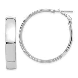 14k White Gold Omega Back Hoop Earrings - 7x35 mm