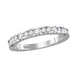 14kt White Gold Womens Round Diamond Wedding Band Ring 1/2 Cttw